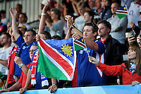 Namibia fans in the crowd show their support after the match. Rugby World Cup Pool C match between Tonga and Namibia on September 29, 2015 at Sandy Park in Exeter, England. Photo by: Patrick Khachfe / Onside Images