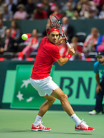 Switserland, Genève, September 20, 2015, Tennis,   Davis Cup, Switserland-Netherlands, Roger Federer (SUI)<br /> Photo: Tennisimages/Henk Koster