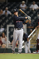 Tampa Yankees catcher Kyle Higashioka (25) at bat during a game against the Fort Myers Miracle on April 15, 2015 at Hammond Stadium in Fort Myers, Florida.  Tampa defeated Fort Myers 3-1 in eleven innings.  (Mike Janes/Four Seam Images)