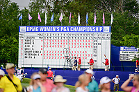 The scoreboard on 18 as it stood during weather suspension of play during Friday's round 2 of the 2017 KPMG Women's PGA Championship, at Olympia Fields Country Club, Olympia Fields, Illinois. 6/30/2017.<br /> Picture: Golffile | Ken Murray<br /> <br /> <br /> All photo usage must carry mandatory copyright credit (&copy; Golffile | Ken Murray)