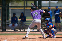 Colorado Rockies left fielder Daniel Jipping (45) at bat during an Extended Spring Training game against the Chicago Cubs at Sloan Park on April 17, 2018 in Mesa, Arizona. (Zachary Lucy/Four Seam Images)