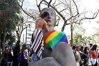 """CURITIBA, PR, 09.07.2016 - PROTESTO-PR - Marcha das Vadias na praça 19 de Dezembro, região central de Curitiba (PR) neste sábado, 09. Com o tema """"Vadias contra o Fascismo"""", que denuncia e traz para as ruas a vontade de derrotar o fascismo diário. O movimento, é um ato contra o machismo, a homofobia, a transfobia, racismo e outras formas de opressão na capital e pretende incentivar que as mulheres que sofrem violência sexual denunciem seus agressores. O grupo deve seguir em passeata por diversos pontos do centro de Curitiba. (Foto: Paulo Lisboa / Brazil Photo Press)"""