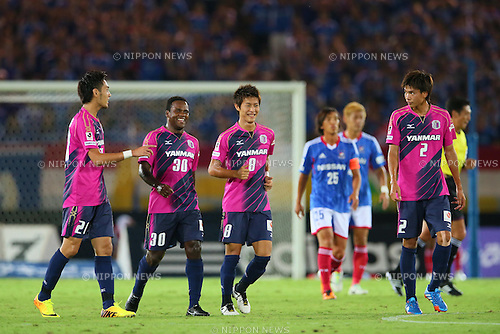 (-R) Kenyu Sugimoto, Simplicio, Yoichiro Kakitani, Takahiro Ogihara (Cerezo), SEPTEMBER 14, 2013 - Football / Soccer : <br /> 2013 J.LEAGUE Division 1, 25th Sec <br /> match between Yokohama F Marinos 1-1 Cerezo Osaka<br />  at Nissan Stadium in Kanagawa, Japan. (Photo by AFLO SPORT) [1156]