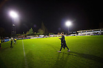Boreham Wood 1 Northwich Victoria 2, 16/11/2015. Meadow Park, FA Cup 1st Round Replay. Northwich Victoria will be the lowest-ranked side in the FA Cup second round after a shock replay win over National League side Boreham Wood. The match was won by the away side by 2 goals to 1. Northwich were rewarded with a trip to League Two side Northampton in the second round. Boreham Wood manager Luke Garrard trudges off after the defeat. Photo by Simon Gill