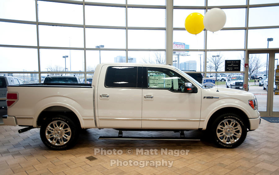 A new F150 Ford truck in the show room at Bankston Ford in Frisco, Texas, Thursday, Jan., 28, 2009. Ford reported gains in earnings for the first time in four years...PHOTOS/ Matt Nager