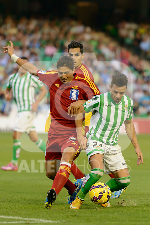 Jesus Vazquez (L) and Ruben Castro (R) during the match between Real Betis and Recreativo de Huelva day 10 of the spanish Adelante League 2014-2015 014-2015 played at the Benito Villamarin stadium of Seville. (PHOTO: CARLOS BOUZA / BOUZA PRESS / ALTER PHOTOS)
