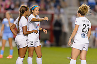 Chicago, IL - Saturday July 30, 2016: Frances Silva, Shea Groom, Caroline Kastor during a regular season National Women's Soccer League (NWSL) match between the Chicago Red Stars and FC Kansas City at Toyota Park.
