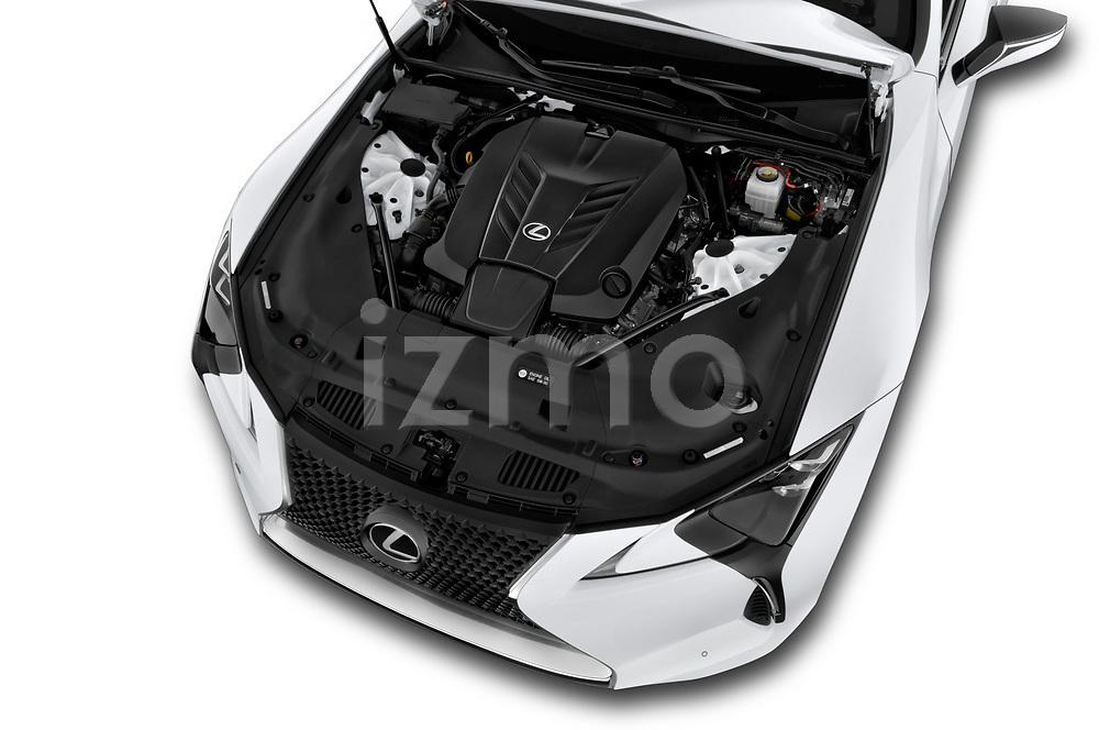 Car stock 2018 Lexus LC 500 4 Door Sedan engine high angle detail view