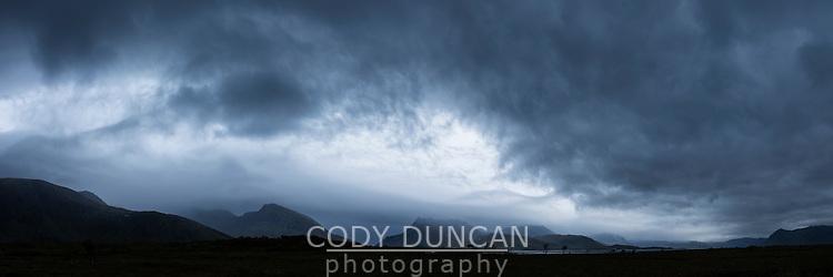 Dark moody autumn sky over Gimsøy, Lofoten Islands, Norway