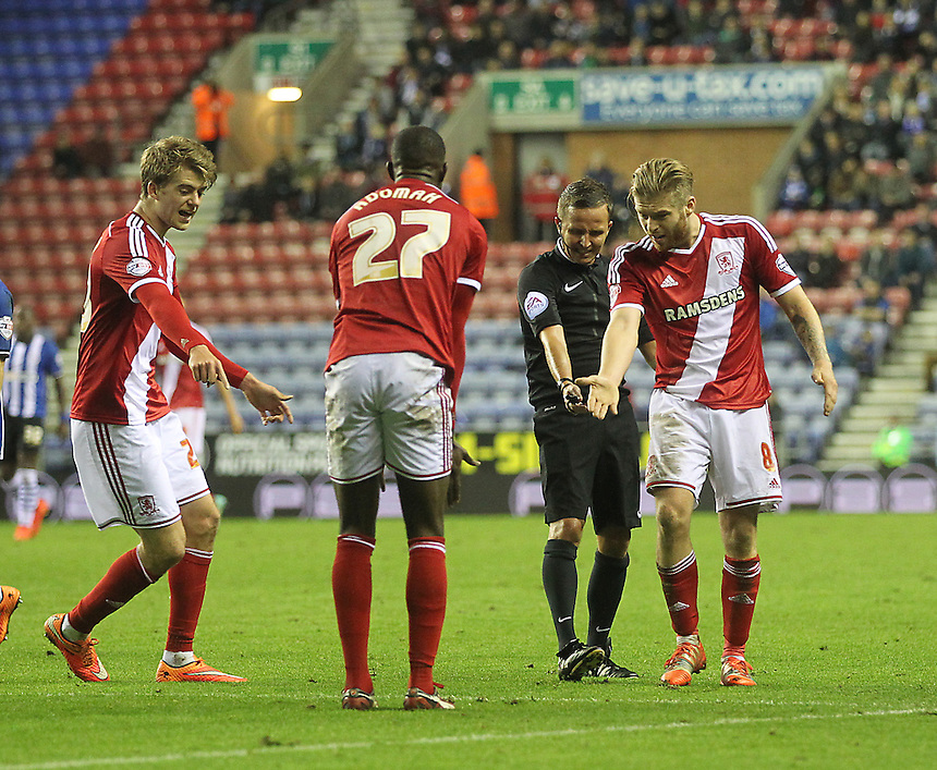 Middlesbrough's players claim a penalty<br /> <br /> Photographer Mick Walker/CameraSport<br /> <br /> Football - The Football League Sky Bet Championship - Wigan Athletic v Middlesbrough - Saturday 22nd November 2014 - DW Stadium - Wigan<br /> <br /> &copy; CameraSport - 43 Linden Ave. Countesthorpe. Leicester. England. LE8 5PG - Tel: +44 (0) 116 277 4147 - admin@camerasport.com - www.camerasport.com