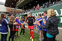 Portland, OR - Saturday, May 21, 2016: Portland Thorns FC forward Christine Sinclair (12). The Portland Thorns FC defeated the Washington Spirit 4-1 during a regular season National Women's Soccer League (NWSL) match at Providence Park.