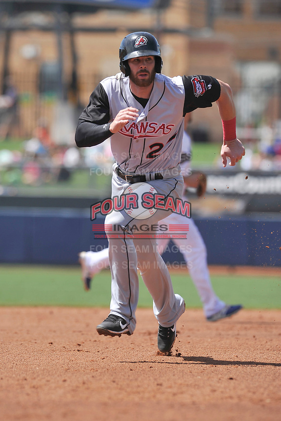 Arkansas Travelers first baseman Kyle Petty (27) runs to third base during a game against the Tulsa Drillers at Oneok Field on May 22, 2017 in Tulsa, Oklahoma.  Arkansas won 5-4.  (Dennis Hubbard/Four Seam Images)