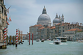 High resolution view of the Santa Maria della Salute, a Baroque church that stands at the entrance of the Canal Grande (Grande Canal) in Venice, Italy from a water taxi in the middle of the Grand Canal on during the noon hour on Sunday, May 27, 2018.<br /> Credit: Ron Sachs / CNP