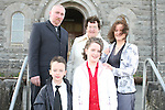 Katie Thornton at her Confirmation in Tullyallen Church with Alan, Paddy, Theresa and Paula...Photo NEWSFILE/Jenny Matthews.(Photo credit should read Jenny Matthews/NEWSFILE)....This Picture has been sent you under the condtions enclosed by:.Newsfile Ltd..The Studio,.Millmount Abbey,.Drogheda,.Co Meath..Ireland..Tel: +353(0)41-9871240.Fax: +353(0)41-9871260.GSM: +353(0)86-2500958.email: pictures@newsfile.ie.www.newsfile.ie.FTP: 193.120.102.198.