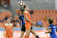 Houston, TX - Sunday August 13, 2017: Lo'eau Labonta and Cami Privett during a regular season National Women's Soccer League (NWSL) match between the Houston Dash and FC Kansas City at BBVA Compass Stadium.