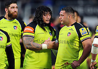 Logovi'i Mulipola and Ellis Genge of Leicester Tigers after the match. Aviva Premiership match, between Saracens and Leicester Tigers on October 29, 2016 at Allianz Park in London, England. Photo by: Patrick Khachfe / JMP