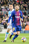 Lionel Messi of FC Barcelona (R) in action during the La Liga 2017-18 match between FC Barcelona and Deportivo La Coruna at Camp Nou Stadium on 17 December 2017 in Barcelona, Spain. Photo by Vicens Gimenez / Power Sport Images