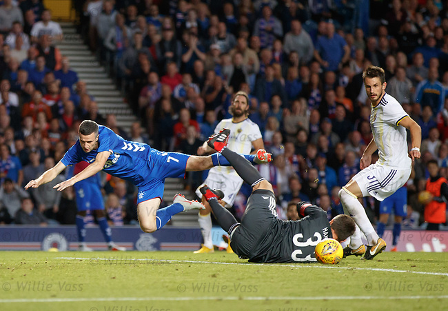 09.08.18 Rangers v Maribor: Jamie Murphy collides with the keeper and the referee stops play