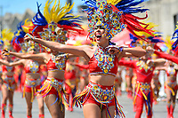 BARRANQUILLA - COLOMBIA, 22-02-2020: Una comparsa de bailarinas durante el desfile Batalla de Flores del Carnaval de Barranquilla 2019, patrimonio inmaterial de la humanidad, que se lleva a cabo entre el 22 y el 25 de febrero de 2020 en la ciudad de Barranquilla. / A troupe of dancers during the Batalla de las Flores as part of the Barranquilla Carnival 2020, intangible heritage of mankind, that be held between March 22 to 25, 2020, at Barranquilla city. Photo: VizzorImage / Alfonso Cervantes / Cont.
