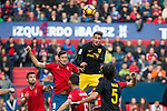Club Atletico Osasuna's Oriol Riera and - Atletico de Madrid's Jose Maria Gimenez   during the match of La Liga, between Club Altetico Osasuna and Atletico de Madrid at Sadar Stadium, Pamplona , Spain. November 27, 2016. (ALTERPHOTOS/Rodrigo Jimenez)