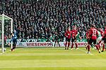 13.04.2019, Weserstadion, Bremen, GER, 1.FBL, Werder Bremen vs SC Freiburg<br /> <br /> DFL REGULATIONS PROHIBIT ANY USE OF PHOTOGRAPHS AS IMAGE SEQUENCES AND/OR QUASI-VIDEO.<br /> <br /> im Bild / picture shows<br /> Tor 2:0, Theodor Gebre Selassie (Werder Bremen #23) köpft ein zum 2:0 gegen Alexander Schwolow (SC Freiburg #01), <br /> <br /> Foto © nordphoto / Ewert