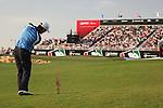 Dubai World Championship Golf. Earth Course,.Jumeirah Golf Estate, Dubai, U.A.E...Padraig Harrington playing his thirdy shot onto the 18th green during the third round of the Dubai World Golf championship..Photo: Fran Caffrey/www.golffile.ie...