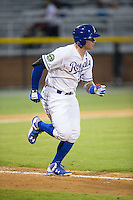 Chris DeVito (34) of the Burlington Royals hustles down the first base line against the Bluefield Blue Jays at Burlington Athletic Stadium on June 27, 2016 in Burlington, North Carolina.  The Royals defeated the Blue Jays 9-4.  (Brian Westerholt/Four Seam Images)