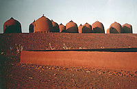 World Civilization:  African Adobe Architecture--Granaries in Affala, Niger. They store threshed millet and sorghum.  SPECTACULAR VERNACULAR.   Photo '91.