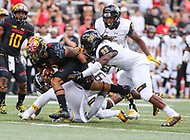 College Park, MD - September 9, 2017: Maryland Terrapins running back Lorenzo Harrison III (2) runs the ball during game between Towson and Maryland at  Capital One Field at Maryland Stadium in College Park, MD.  (Photo by Elliott Brown/Media Images International)