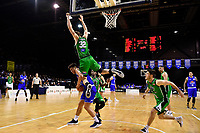 Saints' Reuben Te Rangi and Jets' Wally Ellenson in action during the NBL - Cigna Saints v Manawatu Jets at TSB Bank Arena, Wellington, New Zealand on Sunday 16 June 2019. <br /> Photo by Masanori Udagawa. <br /> www.photowellington.photoshelter.com