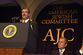 Vicente Fox, President of Mexico, left,  speaks at the American Jewish Committee Annual Dinner at the National Building Museum in Washington, D.C. on May 3, 2001. United States President George W. Bush looks on from lower right..Credit: Ron Sachs / Pool via CNP