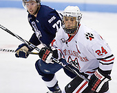 Junior Drew Daniels (Northeastern - 24) is one of three assistant captains for Northeastern. - The visiting St. Francis Xavier University X-Men defeated the Northeastern University Huskies 8-5 on Sunday, October 2, 2011, at Matthews Arena in Boston, Massachusetts.