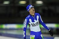 SCHAATSEN: HEERENVEEN: 25-10-2014, IJsstadion Thialf, Marathonschaatsen, KPN Marathon Cup 2, winnaar Topdivisie Erik Jan Kooiman (#37), ©foto Martin de Jong