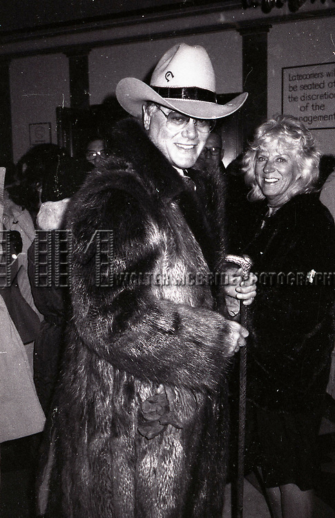 Larry Hagman and wife Maj Axelsson attend a Broadway show on November 27, 1982  in New York City.