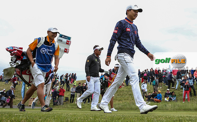 All-Asian final pairing of Jeunghun Wang (KOR) and leader Thongchai Jaidee (THA) during the Final Round of the 100th Open de France, played at Le Golf National, Guyancourt, Paris, France. 03/07/2016. Picture: David Lloyd | Golffile.<br /> <br /> All photos usage must carry mandatory copyright credit (&copy; Golffile | David Lloyd)