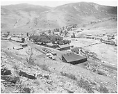 Looking WSW over Cimarron Station.  Enigne house in foreground.  Wye in left center of photo.  Depot, eating house and hotel in center.<br /> D&amp;RGW  Cimarron Station, CO