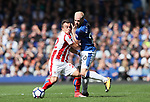 Everton's Davy Klassen tussles with Stoke's Xherdan Shaqiri during the premier league match at Goodison Park, Liverpool. Picture date 12th August 2017. Picture credit should read: David Klein/Sportimage