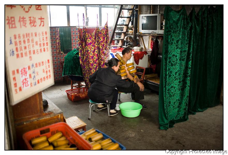 Chine<br /> March&eacute; de long Pi, M&eacute;decine Chinoise.