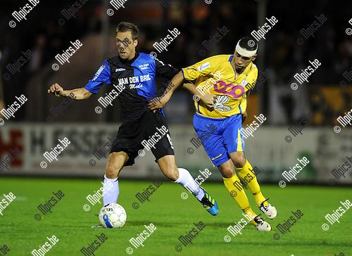 2011-09-14 / Voetbal / seizoen 2011-2012 / Rupel-Boom - St-Gilloise /  Davy de Smedt (L, RB) met Saoudi..Foto: Mpics