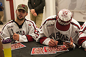 Colin Blackwell (Harvard - 63), Wiley Sherman (Harvard - 25) - The Crimson signed autographs following their game against Brown on Saturday, November 7, 2015, at the Bright-Landry Hockey Center in Boston, Massachusetts.