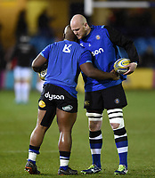 Beno Obano and Matt Garvey of Bath Rugby during the pre-match warm-up. Aviva Premiership match, between Bath Rugby and Exeter Chiefs on March 23, 2018 at the Recreation Ground in Bath, England. Photo by: Patrick Khachfe / Onside Images