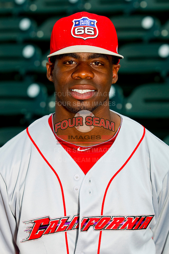 California League All-Star Travis Witherspoon #5 of the Inland Empire 66ers at BB&T Ballpark on June 19, 2012 in Winston-Salem, North Carolina.  (Brian Westerholt/Four Seam Images)