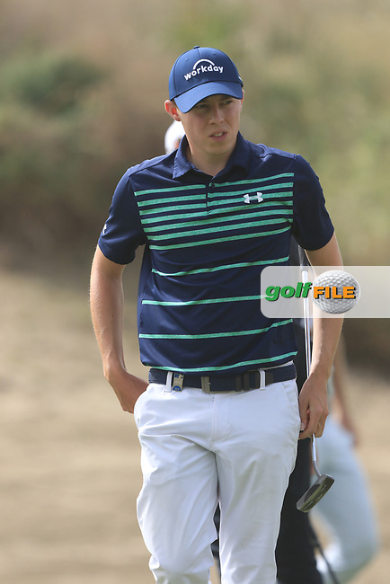 Matthew Fitzpatrick (ENG) on the 3rd during Round 1 of the Omega Dubai Desert Classic, Emirates Golf Club, Dubai,  United Arab Emirates. 24/01/2019<br /> Picture: Golffile | Thos Caffrey<br /> <br /> <br /> All photo usage must carry mandatory copyright credit (&copy; Golffile | Thos Caffrey)