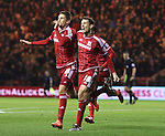 Gaston Ramirez of Middlesbrough celebrating after scoring the first goal of the game with team mate Christhian Stuani - Sky Bet Championship - Middlesbrough vs Wolverhampton Wanderers - Riverside Stadium - Middlesbrough - England - 4th of March 2016 - Picture Jamie Tyerman/Sportimage<br /> --------------------<br /> Sport Image<br /> 15/16 Middlesbrough v Wolves<br /> <br /> 04 March 2016<br /> &copy;2016 Sport Image all rights reserved