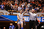 CLEVELAND, OH - MARCH 10: Jay Albis, of Johnson & Wales, is declared the winner of his match in the 125 weight class during the Division III Men's Wrestling Championship held at the Cleveland Public Auditorium on March 10, 2018 in Cleveland, Ohio. Albis went on to win first place in the 125 weight class. (Photo by Jay LaPrete/NCAA Photos via Getty Images)