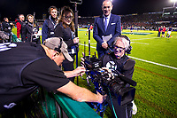 Sky camera operator Rhys Duncan has his steadicam checked during the 2017 DHL Lions Series rugby union match between the NZ Provincial Barbarians and British & Irish Lions at Toll Stadium in Whangarei, New Zealand on Saturday, 3 June 2017. Photo: Dave Lintott / lintottphoto.co.nz