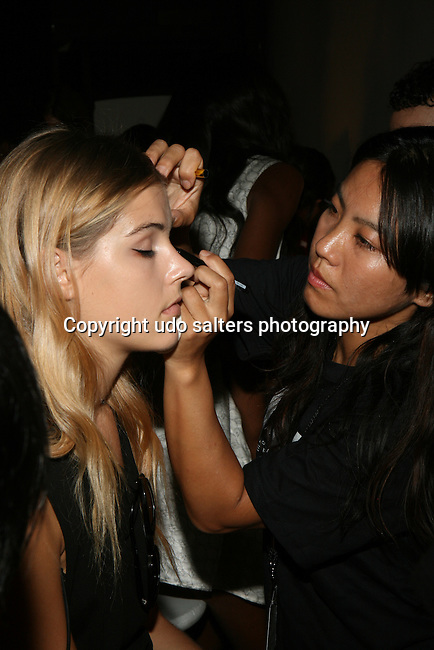 Model Backstage at Daisy Fuentes Spring/Summer 2014 Fashion Show Held at Eybeam, NY