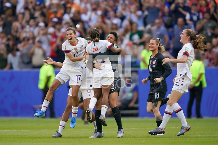LYON, FRANCE - JULY 07: Tobin Heath #17, Crystal Dunn #19, Adrianna Franch #21 during the 2019 FIFA Women's World Cup France final match between the Netherlands and the United States at Stade de Lyon on July 07, 2019 in Lyon, France.