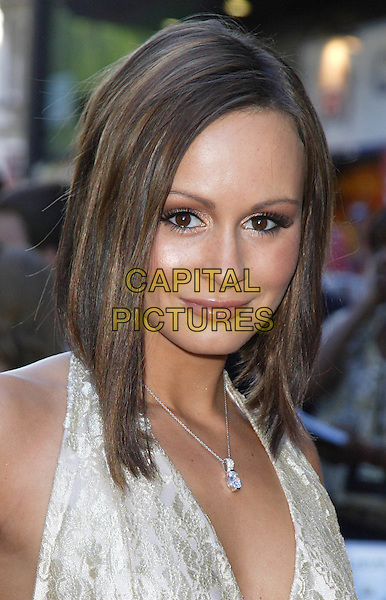"CHANELLE HAYES.Arrivals - ""The X-Files: I Want to Believe"".UK  film premiere held at Empire Cinema, Leicester Square, London, England, 30th July 2008..X files portrait headshot halterneck gold  necklace bob brunette .CAP/ROS.©Steve Ross/Capital Pictures"
