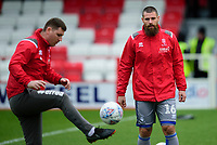 Lincoln City's head of sports science Luke Jelly, left, and Lincoln City's Michael Bostwick during the pre-match warm-up<br /> <br /> Photographer Andrew Vaughan/CameraSport<br /> <br /> The EFL Sky Bet League One - Accrington Stanley v Lincoln City - Saturday 15th February 2020 - Crown Ground - Accrington<br /> <br /> World Copyright © 2020 CameraSport. All rights reserved. 43 Linden Ave. Countesthorpe. Leicester. England. LE8 5PG - Tel: +44 (0) 116 277 4147 - admin@camerasport.com - www.camerasport.com